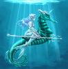 русалка на морском коньке, русалки, рыбы, морской, ящерецы, девушка, аниме, морские, море.
